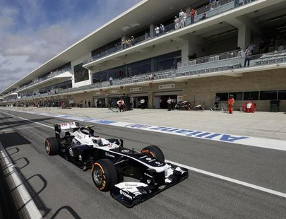 Williams Formula One driver Valtteri Bottas of Finland drives out of the pit lane during the qualifying session of the Austin F1 Grand Prix