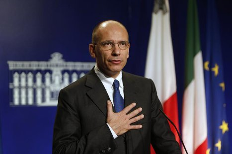 Italian Prime Minister Enrico Letta takes part in a joint news conference with Malta's Prime Minister Joseph Muscat (not pictured) at Muscat