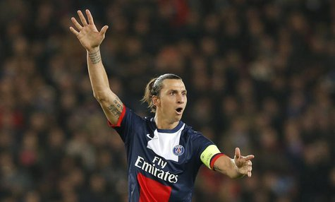 Paris St-Germain's Zlatan Ibrahimovic reacts during their Champions League soccer match against Anderlecht at the Parc des Princes Stadium i