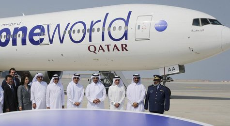 Qatar Airways Chief Executive Akbar Al Baker (3rd R), Qatar's Prime Minister Sheikh Abdullah bin Nasser bin Khalifa al-Thani (4th R), Qatar'