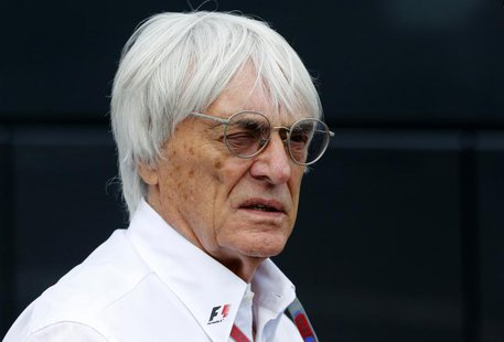 Formula One commercial supremo Bernie Ecclestone looks on at the start of the qualifying session of the Belgian F1 Grand Prix in Spa Francor