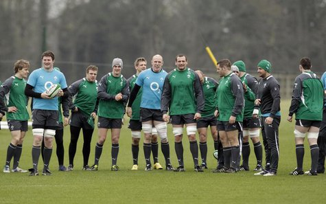 Ireland's rugby team gather for team training at their Carton House training camp in County Kildare February 9, 2012, ahead of their next Si
