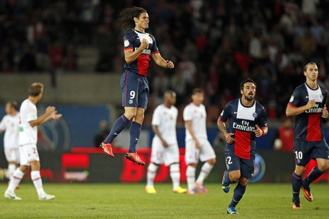 Paris Saint-Germain's Edinson Cavani (9) reacts after scoring a goal during his French Ligue 1 soccer match against Ajaccio at Parc des Prin