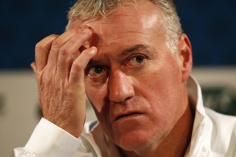 France's national soccer team head coach Didier Deschamps attends a news conference at Stade de France's stadium in Saint-Denis, near Paris