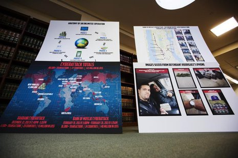 Charts showing information related to eight members belonging to a New York-based cell of a global cyber criminal organization are displayed