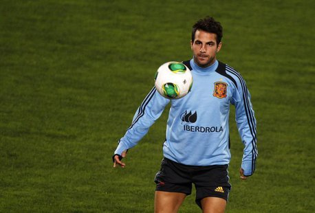 Spain's national soccer player Cesc Fabregas takes part in a soccer training session at Iberostar stadium in Mallorca, on the Spanish Balear