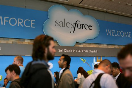 A Salesforce sign is seen as attendees make their way through Moscone Center during the company's annual Dreamforce event, in San Francisco,