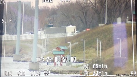 A construction trailer tipped on its side on Highway 41 southbound in Winnebago County on Monday, Nov. 18, 2013. (Photo from: FOX 11).