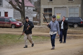 Craig Cobb and Kynan Dutton doing armed patrols in Leith, N.D.    Photo courtesy Gregory Bruce