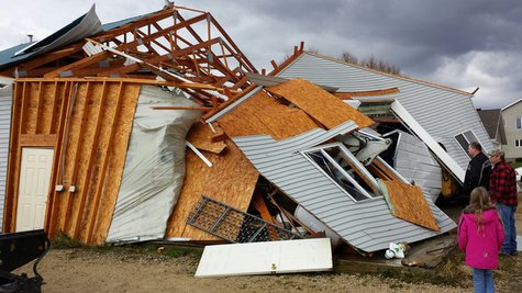Storm damage in Dodge County, Sunday, Nov. 17, 2013. (Photo from: FOX 11).