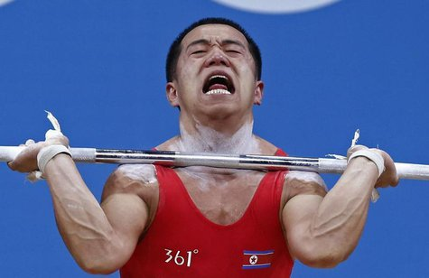 North Korea's Yun Chol Om competes on the 56Kg Group B weightlifting competition at the London 2012 Olympic Games July 29, 2012. REUTERS/Dom