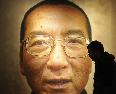 "Workers prepare the Nobel Peace Prize laureate exhibition ""I Have No Enemies"" for Chinese dissident Liu Xiaobo at the Nobel Peace Center in"