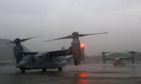 Two U.S. Marines V-22 Ospreys, ferrying personnel to help in the relief efforts in Tacloban City, are seen on the tarmac at Villamor Air Bas
