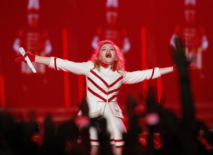 Singer Madonna performs at the Staples Center as part of her MDNA world tour in Los Angeles, California in this October 10, 2012 file photo.