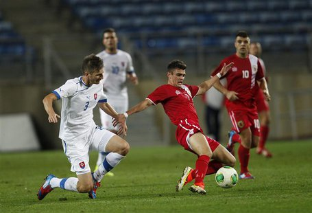 Gibraltar's Jeremy Lopez (R) fights for the ball with Slovakia's Pavol Farkas during their international friendly soccer match at Algarve st
