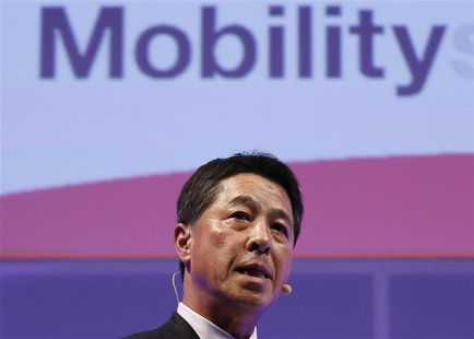 Mazda Motor Corp Chief Executive Officer Masamichi Kogai speaks during an event ahead of the Tokyo Motor Show in Tokyo November 19, 2013. RE