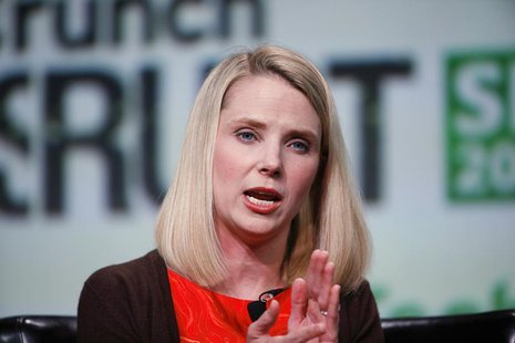 Marissa Mayer, President and CEO of Yahoo!, speaks on stage during a fireside chat session at TechCrunch Disrupt SF 2013 in San Francisco, C