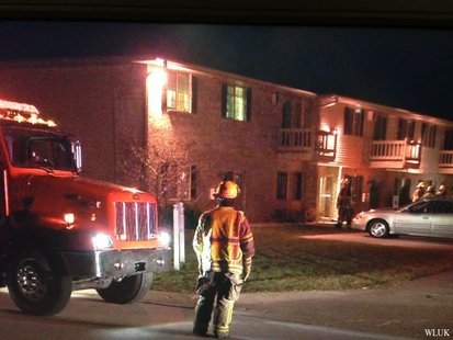 De Pere Fire and Rescue officers respond to apartment complex at 1746 Burgoyne Dr. for high levels of carbon monoxide on Nov. 18, 2013. (Photo from: FOX 11).