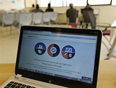 A busy screen is shown on the laptop of a Certified Application Counselor as he attempted to enroll an interested person for Affordable Care Act insurance, known as Obamacare, at the Borinquen Medical Center in Miami, Florida October 2, 2013. CREDIT: REUTERS/JOE SKIPPER