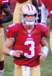 San Francisco 49ers backup quarterback Scott Tolzien on August 30, 2012 before the 49ers' final preseason game vs the San Diego Chargers By Steven Bowles [CC-BY-2.0 (http://creativecommons.org/licenses/by/2.0)], via Wikimedia Commons