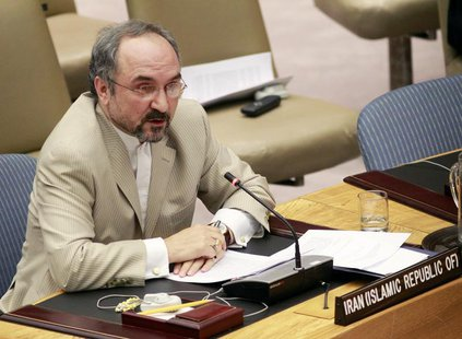 Iran's Ambassador to the U.N. Mohammad Khazaee speaks before the U.N. Security Council at the U.N. Headquarters in New York, June 9, 2010. R