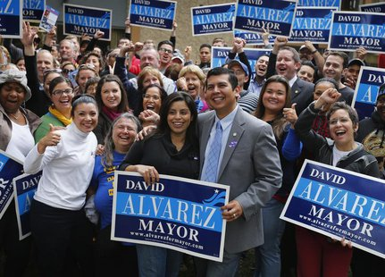San Diego mayoral candidate and City Councilman David Alvarez and wife Xochitl (C) hold an election day rally before his campaign workers mo