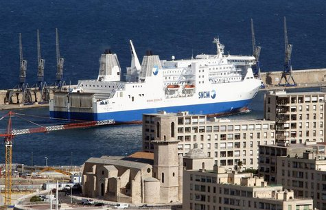 The car ferry Paglia Orba operated by the SNCM (National Maritime Corsica-Mediterranean Company) enters the Marseille's harbour April 13, 20