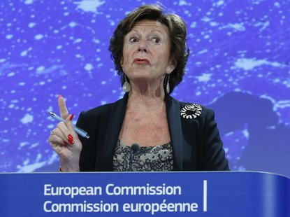 European Commissioner for Digital Agenda Neelie Kroes holds a news conference on the European Commission telecoms package in Brussels Septem