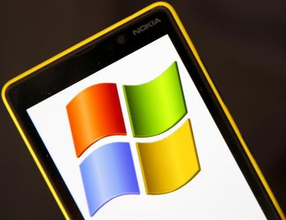 A Nokia Lumia 820 smartphone with Microsoft logo on the screen is shown in a photo illustration taken in the central Bosnian town of Zenica,