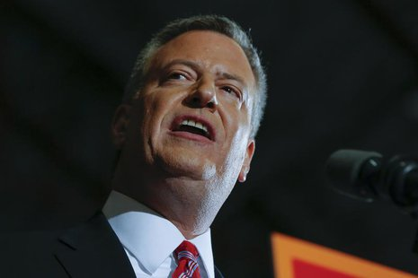 Liberal Democrat Bill de Blasio speaks during his election victory party at the Park Slope Armory in New York November 5, 2013. REUTERS/Shan