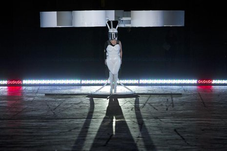 "Lady Gaga prepares to fly with the Volantis, a flying dress, at the ""artRave"" release event of her new album ""ARTPOP"" in New York November 1"
