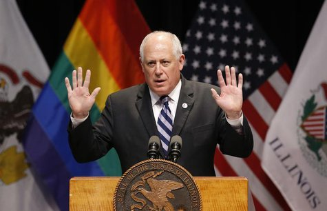Illinois Governor Pat Quinn speaks before signing the Religious Freedom and Marriage Fairness Act at a ceremony in Chicago, Illinois, Novemb