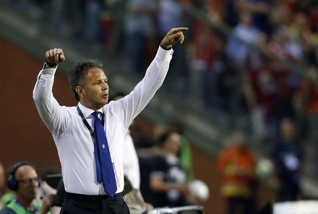 Serbia's coach Sinisa Mihajlovic reacts during their 2014 World Cup qualifying soccer match against Belgium at the King Baudouin stadium in
