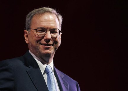 Google Chairman Eric Schmidt smiles during a rehearsal of his MacTaggart lecture speech for the Edinburgh International Television Festival