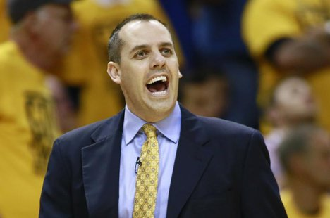 Indiana Pacers head coach Frank Vogel directs his team against the Miami Heat during the first quarter in Game 4 of their NBA Eastern Confer