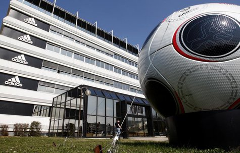A giant soccer ball is seen in front of the main entrance of the Adidas building in Landersheim near Strasbourg March 31, 2009. REUTERS/Chri