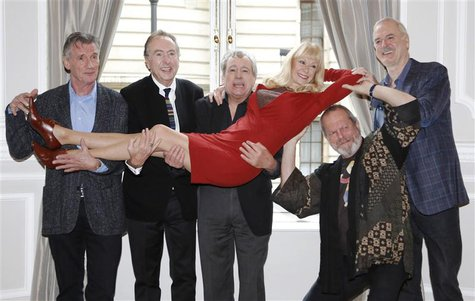 The surviving members of the original cast of the Monty Python comedy team (L-R) Michael Palin, Eric Idle, Terry Jones,Terry Gilliam and Joh