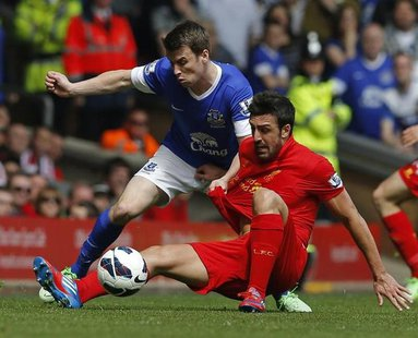 Everton's Seamus Coleman (L) challenges Liverpool's Jose Enrique during their English Premier League soccer match at Anfield in Liverpool, n