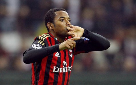 AC Milan's Robinho celebrates after scoring against Barcelona during their Champions League soccer match at the San Siro stadium in Milan, O