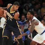 Nov 20, 2013; New York, NY, USA; Indiana Pacers small forward Paul George (24) controls the ball against New York Knicks shooting guard Iman