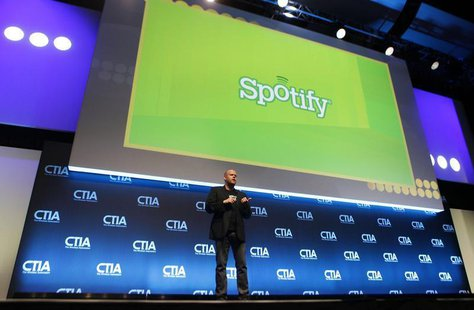 Daniel Ek, CEO & Co-Founder of Spotify, addresses attendees during the International CTIA WIRELESS Conference & Exposition in New Orleans, L