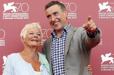 "Actors Judi Dench (L) and Steve Coogan (R) pose during a photocall for the movie ""Philomena"", directed by Stephen Frears, during the 70th Ve"