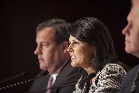 Governor Nikki Haley (R-SC) answers a question during a news briefing at the 2013 Republican Governors Association conference in Scottsdale,