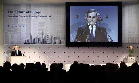 Mario Draghi, President of the European Central Bank (ECB) delivers his speech to the European Banking Congress, at the old opera house in F