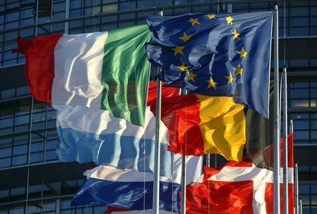 File picture shows European Union member states' flags flying in front of the building of the European Parliament in Strasbourg, April 21, 2