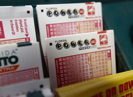 Tickets for the Florida Lottery Powerball are displayed at the Lawrence Shell gas station in Boynton Beach, Florida May 18, 2013. REUTERS/Jo