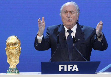 FIFA President Sepp Blatter gives a speech during the final presentation and the announcement of the host nations for the 2018 and 2022 FIFA