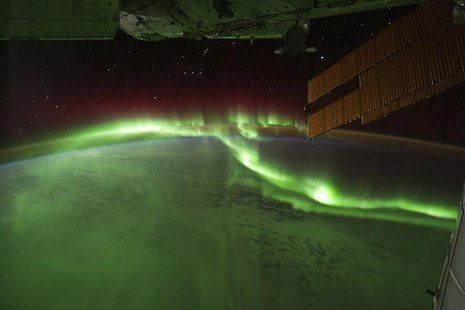 "Aurora Australis or ""Southern lights"" are seen in this picture captured by astronauts on the International Space Station (ISS) with a digita"