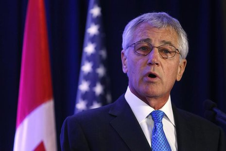 U.S. Defense Secretary Chuck Hagel speaks following the signing of the Canada-U.S. Asia-Pacific Defense Policy Cooperation Framework at the