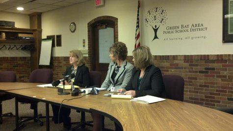Green Bay Area Public School District officials holding a press conference discussing the firing of Nicolet Elementary School principal Melisa Ellingson on Nov. 22, 2013. (Photo by: WTAQ Reporter Jeff Flynt)